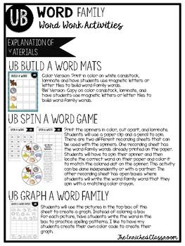 UB Word Family Word Work Activities