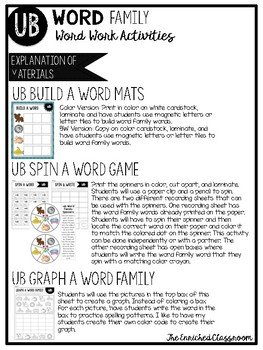 UB Word Family Word Work Activities