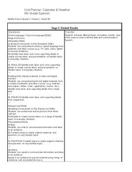 UBD Spanish I- Elementary/Middle School- El Calendario y el Tiempo (Clima)