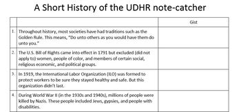 UDHR Packet (5th grade ELA Module 1, Unit 1)