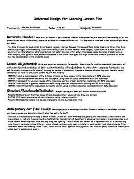 UDL Lesson Plan Rock Cycle