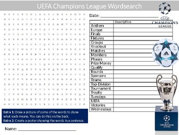 UEFA Champions League Wordsearch Puzzle Sheet Physical Education Sports Football