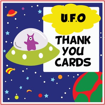UFO / Space Thank You Cards for (Prac, Substitute, Classroom) Teachers
