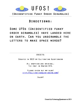 UFOS!: Word Scrambles (Planets and Space Vocab)
