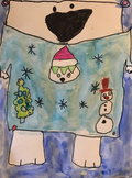 UGLY HOLIDAY CHRISTMAS SWEATER POLAR BEAR ART with VIDEO ACCESS!