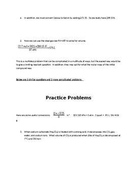 UIL Science Gas Stoichiometry