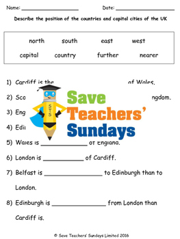 UK Capital Cities and Positional Language Lesson plan, Map and Worksheets