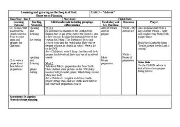 UK Catholic Religion Studies Planning Fall Term Year 1 Grade Kindergarten Advent