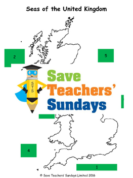 UK Cities and Seas Lesson plan, Map, Worksheets and Plenary