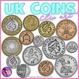 British UK coins clip art: 1p, 2p, 5p, 10p, 20p, 50p, £1, £2