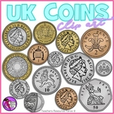 British UK coins clip art: 1p, 2p, 5p, 10p, 20p, 50p, £1, £2