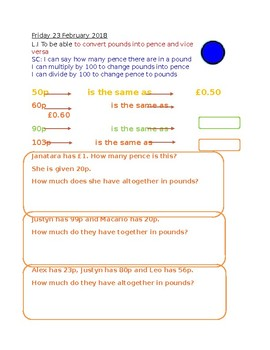UK Converting Pounds and Pence Word Problems