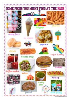UK Foods Found At The Funfair A3 Poster Fair Fairground 300 DPI