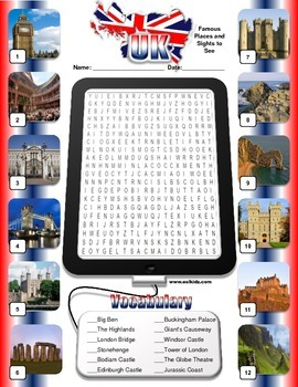 UK Landmarks Word Search and Vocabulary review
