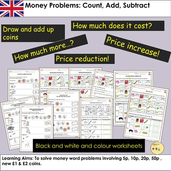 UK Money - Pounds and Pence: Count, Add, Subtract Tasks and Word Problems