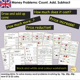 UK Money Pounds and Pence Count Add Subtract Tasks and Word Problems