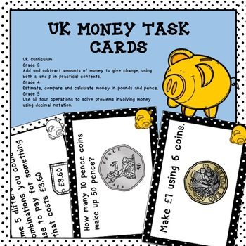 UK Money Task Cards Higher Order Thinking HOTS Year 3, 4 and 5