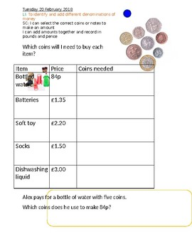 UK Money selecting correct coins and notes