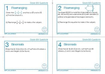 UK New GCSE (2017 9-1) Algebra Grades 8/9 target