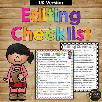 Daily Editing Checklist for First and Second Grade **UK VERSION**