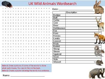 UK Wild Animals Wordsearch Sheet Starter Activity Keywords Biology Wildlife