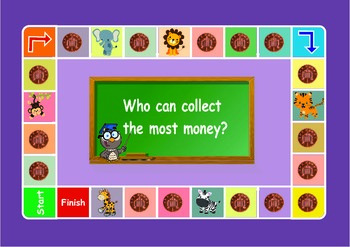 UK coin one penny game for younger children. Maths  .