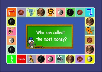 UK money : 1 penny , 2 ,5 and 10 pence coins game . Maths
