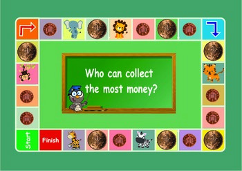 UK money : 1 penny and 2 pence coins game . Maths