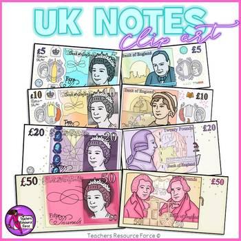 UK Money Clip Art: £5, £10, £20 and £50