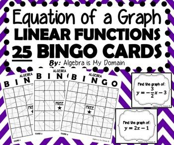 ULTIMATE ALGEBRA BINGO - Graphs of Linear Functions