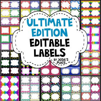 EDITABLE LABELS  ULTIMATE Edition  Bundle & Save! 180 labels & 6 FREE labels!