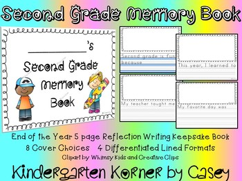 SECOND 2nd GRADE MEMORY BOOK END OF YEAR WRITING BOOK diff