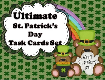 St. Patrick's Day Math and Language Arts Task Cards Bundle