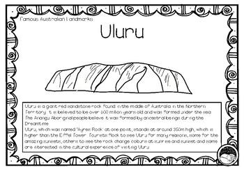 ULURU (an Australian landmark) 1 page information and colo