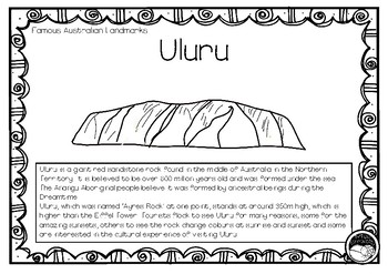 ULURU (an Australian landmark) 1 page information and coloring sheet