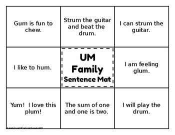 UM Word Family Word and Sentence Matching Mats