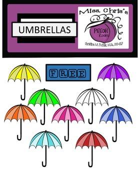 UMBRELLA DIGITAL CLIPART {Colored and Transparent} FREE!!!