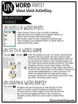 UN Word Family Word Work Activities