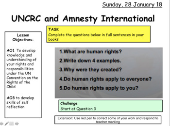UNCRC and Amnesty International and Human Rights GCSE CITIZENSHIP 9-1