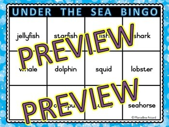 OCEAN GAME: UNDER THE SEA THEME: OCEAN BINGO GAME: OCEAN ACTIVITIES