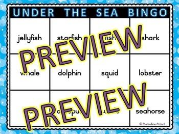 OCEAN ACTIVITY KINDERGARTEN, PRESCHOOL END OF YEAR (UNDER THE SEA BINGO GAME
