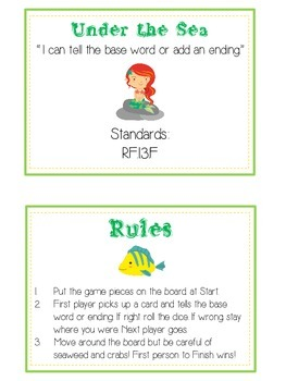 UNDER THE SEA Inflectional Word Endings - ELA First Grade Game - Word Work