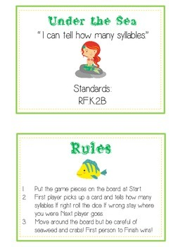 UNDER THE SEA Syllables - ELA First Grade Folder Game - Word Work Center