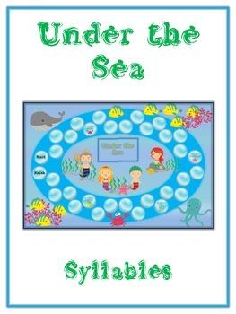 UNDER THE SEA Syllables - ELA First Grade Folder Game - Wo