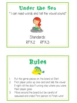 UNDER THE SEA Vowels- ELA First Grade Folder Game - Word Work Center