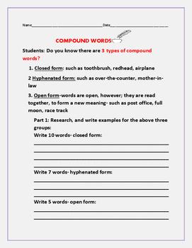 UNDERSTANDING COMPOUND WORDS  ACTIVITY