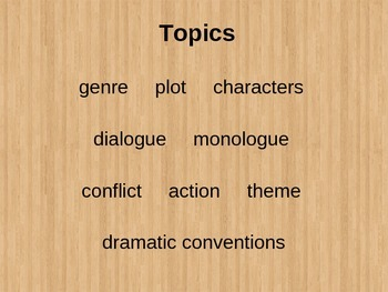 UNDERSTANDING LITERATURE - The Elements of DRAMA Mini-lesson / Notes