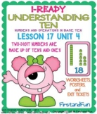 UNDERSTANDING TENS UNIT 4  LESSON 17 WORKSHEETS POSTERS AND EXIT TICKET BASE TEN