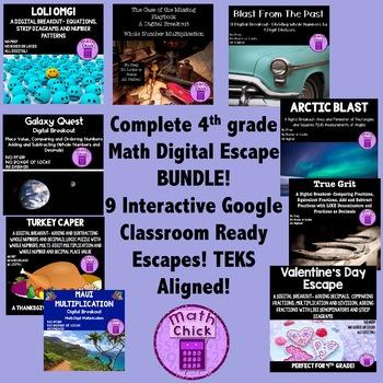 BUNDLE- Entire 4th grade Digital Escape Breakout Distance Learning TEKS Aligned