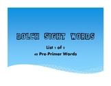 Pre-Primer Dolch Word List - .pdf Presentation/Printable - List 1 of 5
